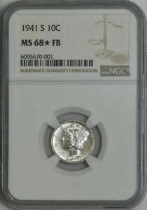 Click now to see the BUY IT NOW Price! 1941 S MERCURY DIME 10C MS68 FB NGC