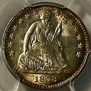 1858 SEATED LIBERTY H 10C PCGS MS66 TOUGH THIS PRETTY AMAZING TONING & LUSTER