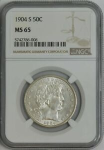 Click now to see the BUY IT NOW Price! 1904 S BARBER HALF 50C MS65 NGC 943689 6