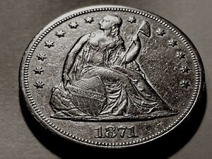 1871 SEATED LIBERTY SILVER DOLLAR WITH MOTTO   NICE BU   SEE DESCRIPTION