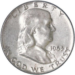 1953 FRANKLIN HALF DOLLAR 90  SILVER ABOUT UNCIRCULATED AU SEE PICS J590
