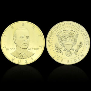 US PRESIDENT BIDEN GOLD PLATED COIN CHALLENGE METAL COINS FOR COLLECTION