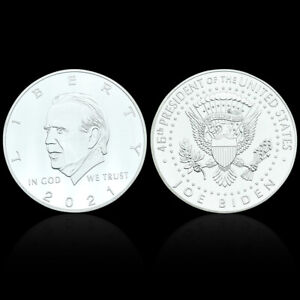 US PRESIDENT BIDEN SILVER PLATED COIN CHALLENGE METAL COINS FOR COLLECTION