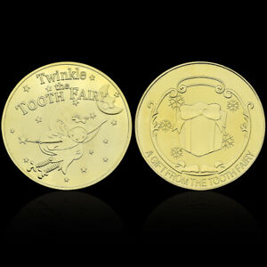 GOLD PLATED TWINKLE TOOTH FAIRY COIN COLLECTION SOUVENIR CHALLENGE ART CRAFTS