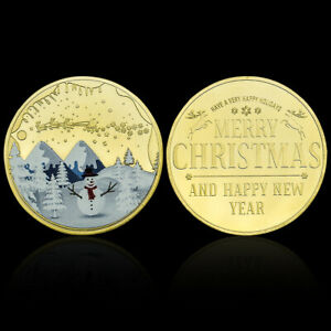 MERRY CHRISTMAS GOLD PLATED COIN SANTA CLAUS METAL COIN COLLECTION CHILDREN GIFT