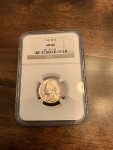 CHOICE UNC MS66 1945 D SILVER WARTIME JEFFERSON NICKEL NGC MS66
