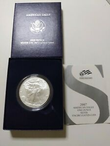 2007 W BURNISHED BU AMERICAN SILVER EAGLE DOLLAR US MINT ASE COIN COA AND BOX