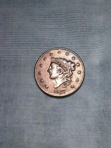 1837 CORONET LARGE CENT US COPPER COIN NICE DETAIL