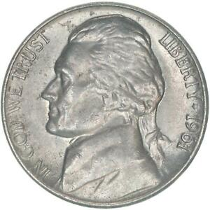 1961 JEFFERSON NICKEL ABOUT UNIRCULATED  AU