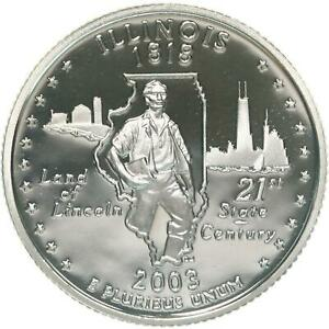 2003 S STATE QUARTER ILLINOIS GEM PROOF DEEP CAMEO CN CLAD COIN