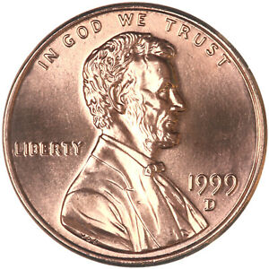 1999 D LINCOLN MEMORIAL CENT CHOICE BU PENNY US COIN