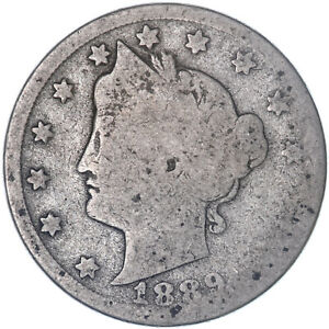 1889 LIBERTY V NICKEL ABOUT GOOD AG