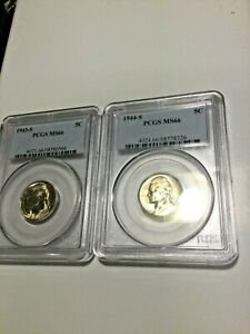 2 JEFFERSON SILVER WAR NICKEL. 1943 S AND 1944 S PCGS MS66.