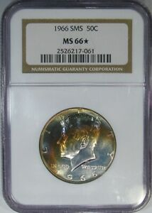 1966 SMS 50C NGC MS66   NGC STAR  40  SILVER KENNEDY   WILD RAINBOW OBVERSE