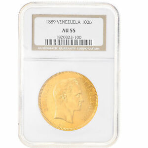 Click now to see the BUY IT NOW Price! [908291] COIN VENEZUELA 100 BOLIVARES 1889 CARACAS NGC AU55 GOLD