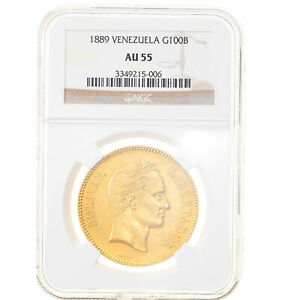 Click now to see the BUY IT NOW Price! [908290] COIN VENEZUELA 100 BOLIVARES 1889 CARACAS NGC AU55 GOLD