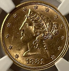 1881 5 DOLLAR GOLD HALF EAGLE CORONET HEAD NGC MS62 LOOKS UNDER RATED