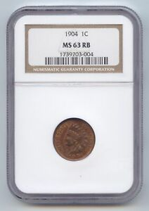1904 INDIAN HEAD CENT NGC MS 63 RB RED AND BROWN