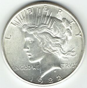 1922 S $1 PEACE DOLLAR SLIDER / UNCIRCULATED GREAT LUSTER
