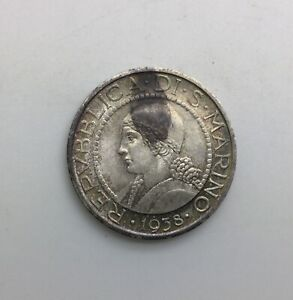 Click now to see the BUY IT NOW Price! 1937  SAN MARINO 5 LIRE   SILVER  COIN ORIGINAL NICELY TONED  KM5