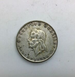 Click now to see the BUY IT NOW Price! 1934 F 2 MARK SILVER SCHILLER 175TH 3RD REICH  SHARP ORIGINAL COIN LIGHT CIRC