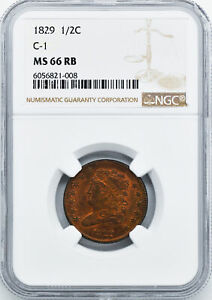 Click now to see the BUY IT NOW Price! 1829 CLASSIC HEAD 1/2C NGC MS 66 RB