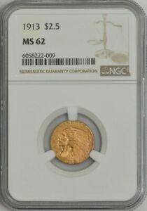 1913 $2 1/2 GOLD INDIAN MS62 NGC 944449 6