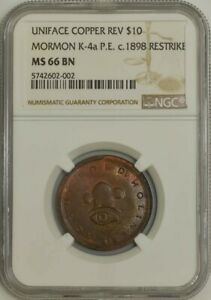 Click now to see the BUY IT NOW Price! C.1898 MORMON $10 UNIFACE COPPER REVERSE K 4A P.E. RESTRIKE MS66 BN NGC 943448 6