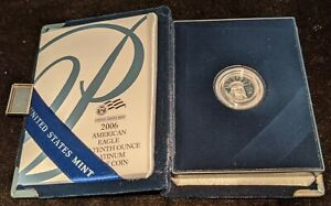 2006 W $10 PLATINUM EAGLE 1/10 OZ WITH SOME ORIGINAL US MINT PACKAGING COA
