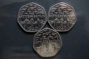 3  2015  50P COIN   75TH ANNIVERSARY OF THE BATTLE OF BRITAIN