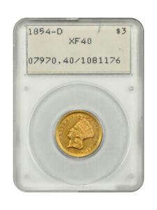 Click now to see the BUY IT NOW Price! 1854 D $3 PCGS XF40   PCGS 1.1 HOLDER  3 PRINCESS GOLD COIN