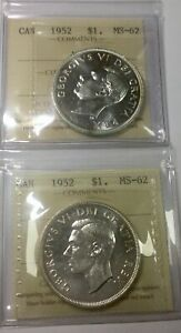 Click now to see the BUY IT NOW Price! 1952 WL & 1952 NWL PAIR OF GEORGE VI DOLLARS ICCS  MS62  PLEASING SHARP COINS
