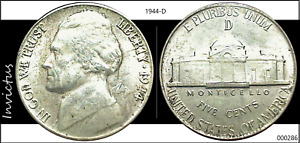 1944 D JEFFERSON NICKEL  WWII ALLOY CIRCULATED