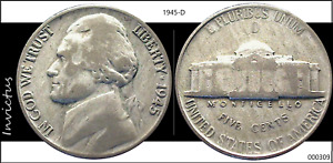 1945 D JEFFERSON NICKEL  WWII ALLOY CIRCULATED
