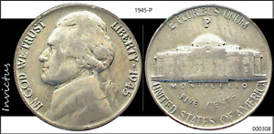 1945 P JEFFERSON NICKEL  WWII ALLOY CIRCULATED