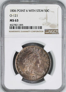 Click now to see the BUY IT NOW Price! 1806 DRAPED BUST 50C NGC MS 63