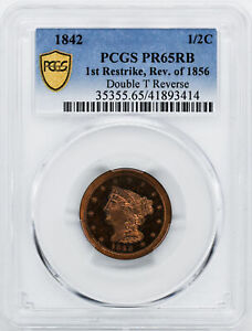 Click now to see the BUY IT NOW Price! 1842 BRAIDED HAIR 1/2C PCGS PR 65 RB