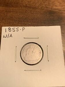1855 SEATED LIBERTY DIME WITH ARROWS