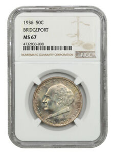 1936 BRIDGEPORT 50C NGC MS67   SILVER CLASSIC COMMEMORATIVE   LOVELY TONING