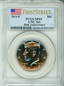 Click now to see the BUY IT NOW Price! 2014 P 50C KENNEDY   ANNIVERSARY   FIRST STRIKE LABEL   PCGS SP69    NICE COIN