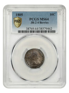 1805 10C PCGS MS64  JR 2 4 BERRIES  LOVELY DRAPED BUST DIME   BUST DIME