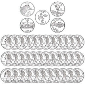 2007 S STATE QUARTER ROLL GEM DEEP CAMEO 90  SILVER PROOF 40 US COINS