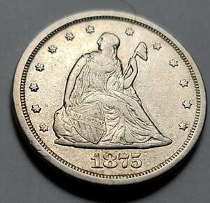 1875 S SEATED LIBERTY TWENTY CENT PIECE 90  US SILVER COIN VF  /