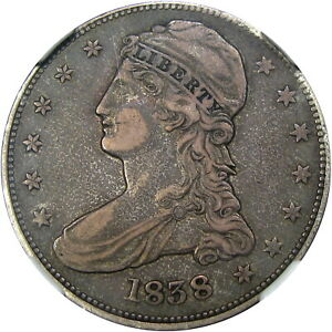 1838 50C NGC VF30 CAPPED BUST REEDED EDGE   EXCEPTIONALLY CHOICE & ORIGINAL