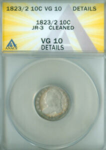 1823/2 JR 3 CAPPED BUST DIME ANACS VG 10 DETAILS FREE S/H  2127232
