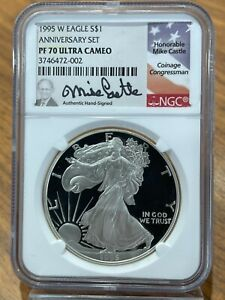 Click now to see the BUY IT NOW Price! KEY 1995 W $1 PROOF SILVER EAGLE NGC PF70 ULTRA CAMEO MIKE CASTLE SIGNED POP 37
