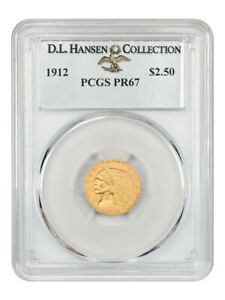 Click now to see the BUY IT NOW Price! 1912 $2 1/2 PCGS PR 67 EX: D.L. HANSEN   EXCEPTIONAL MATTE PROOF