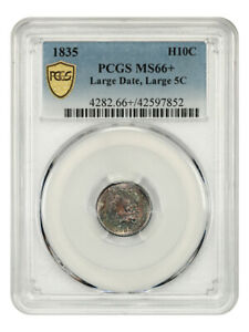 1835 H10C PCGS MS66   LARGE DATE LARGE 5C  COLORFULLY TONED GEM