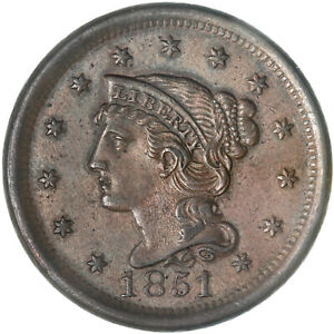 1851 BRAIDED HAIR LARGE CENT ABOUT UNCIRCULATED AU SEE PICS F057