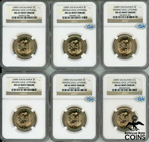 LOT OF 6: 2009 US $1 SACAGAWEA MINT ERROR COINS NO EDGE LETTER NGC MS65 & MS66